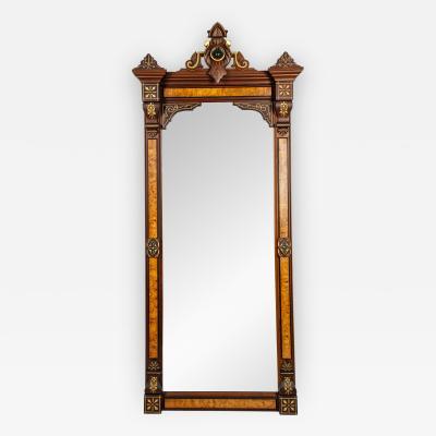 Antique Pair of Victorian Burlwood Walnut Pier Mirrors