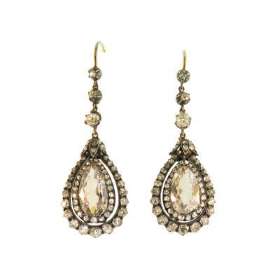 Antique Pear Shaped Diamond Drop Earrings
