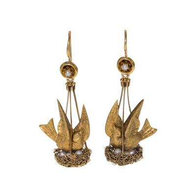 Antique Pearl Gold Nesting Bird Earrings