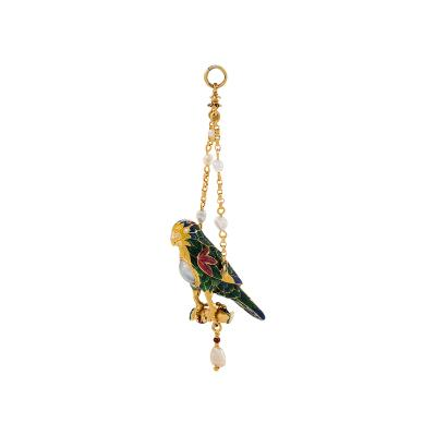 Antique Pearl Gold and Enamel Parrot Pendant