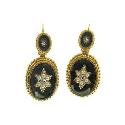 Antique Pearl and Diamond Agate Beaded Gold Earrings