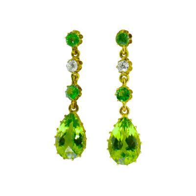 Antique Peridot Diamond and Gold Earrings