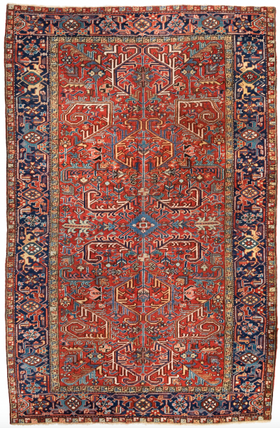 Antique Persian Heriz Rug All Over Red Field Navy Border circa 1930s