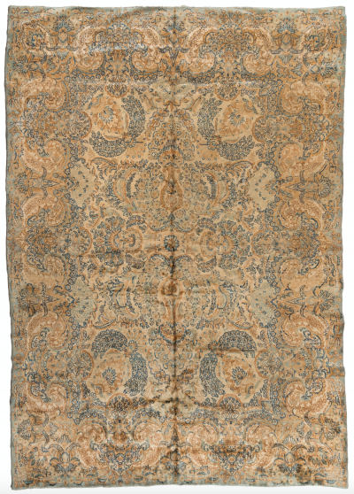 Antique Persian Ivory Gold Blue Floral Kirman Rug circa 1930s 8 9 x 12 ft