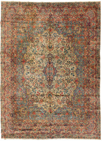 Antique Persian Ivory and Blue Floral Kirman Rug circa 1920s