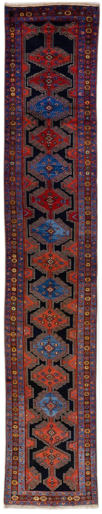 Antique Persian Malayer Handmade Tribal Blue Long Wool Runner