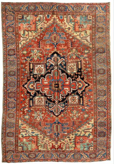 Antique Persian Rust Navy Blue Gold Tribal Geometric Heriz Area Rug 1910 1920s