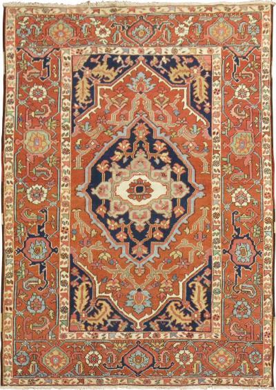 Antique Persian Square Serapi rug no j1809