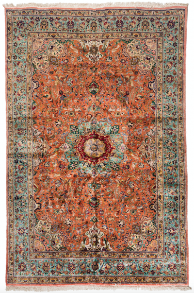 Antique Persian Tabriz Silk Carpet with Birds and Animals circa 1940s