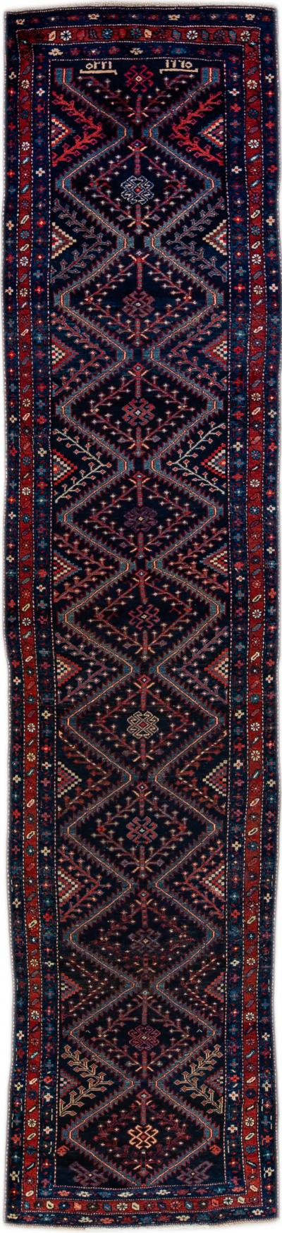 Antique Pesian Malayer Handmade Tribal Blue And Red Wool Runner Rug