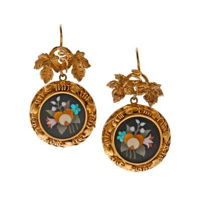 Antique Pietra Dura Yellow Gold Victorian Earrings