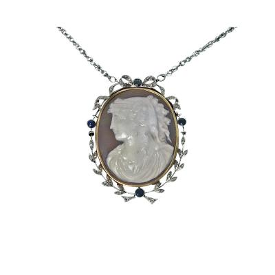 Antique Platinum 15K Cameo Pendant Diamond Sapphire mount English C 1920