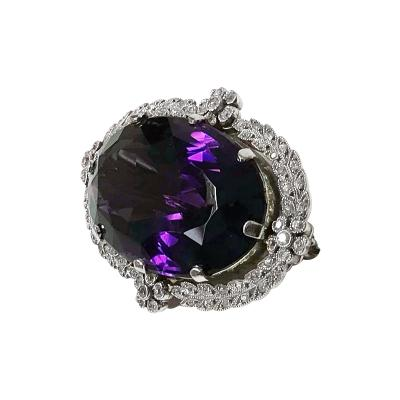 Antique Platinum Amethyst Diamond Brooch Pendant English C 1910
