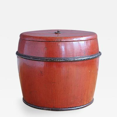 Antique Red Lacquer Rice Storage Container