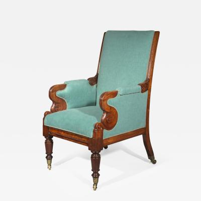 Antique Regency Library Desk Armchair in Turquoise Cotton 19th Century