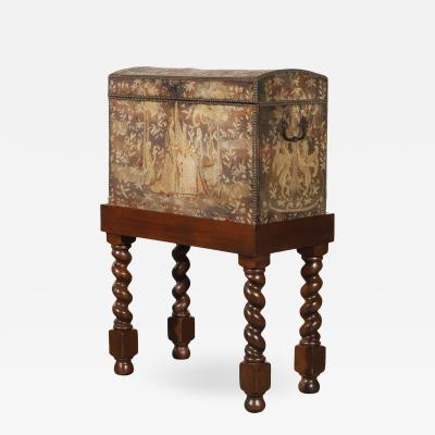 Antique Renaissance Aubusson Oak and Walnut Trunk Form Secretary Desk on Stand