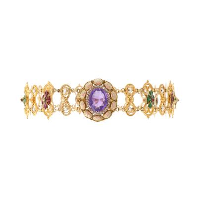Antique Renaissance Revival Amethyst Diamond Natural Pearl Gold and Enamel