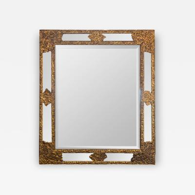 Antique Repousse Brass Framed Mirror with Canted Surround