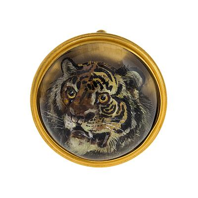 Antique Reverse Crystal Tiger Brooch