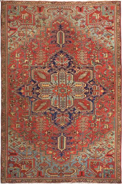 Antique Room Size Heriz Rug with Serapi Blue Colors circa 1910 12 x 6 5