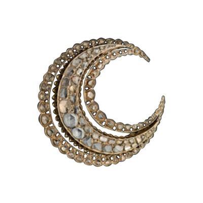 Antique Rose Cut Diamond Gold Crescent Brooch