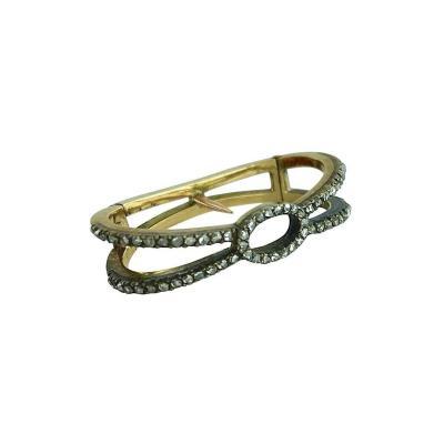 Antique Rose Cut Diamond Silver Gold Scarf Ring