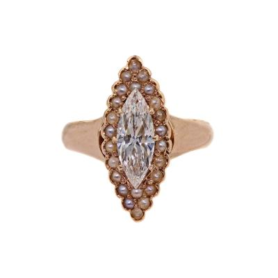 Antique Rose Gold Seed Pearl 0 75ct Marquise Diamond Ring