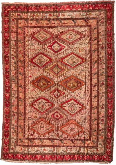Antique Rose Pink Geometic Caucasian Silk Soumak Rug with Birds 9 6 x 12 7 ft