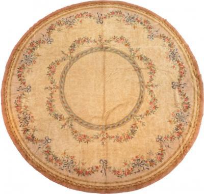 Antique Round Beige Floral Spanish Savonnerie Rug circa 1940s