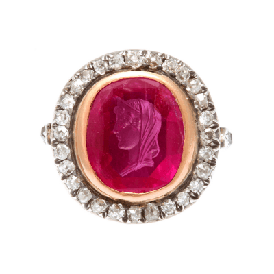 Antique Ruby Cameo of Roman Lady Diamond Ring