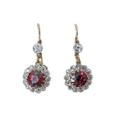 Antique Ruby Diamond Gold Platinum Earrings C 1920