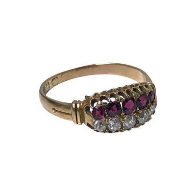 Antique Ruby Diamond Gold Ring Birmingham 1899