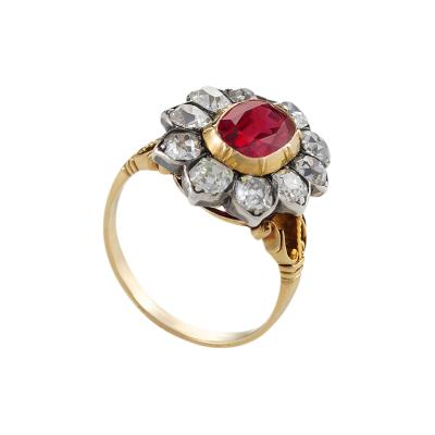 Antique Ruby and Diamond Cluster Ring