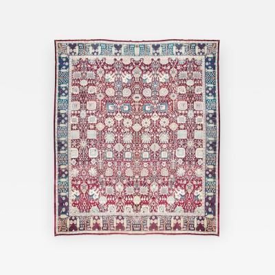 Antique Rug Agra from India with Design of Natural Elements circa 1880