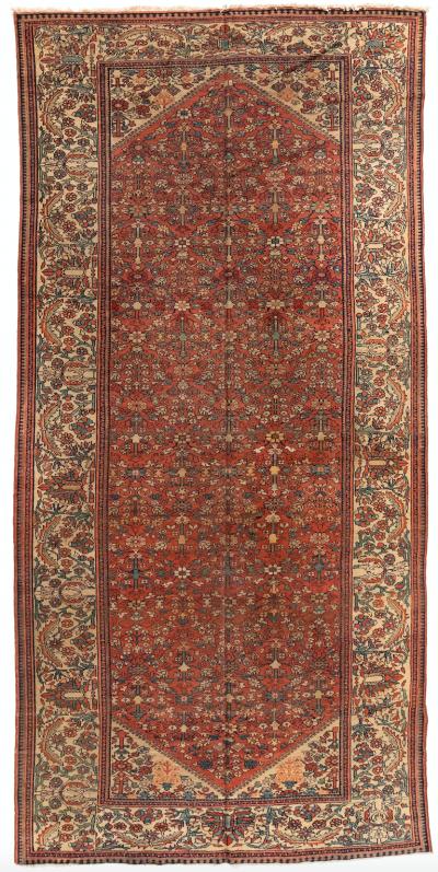 Antique Rust Ivory Persian Geometric Malayer Rug c 1930s 7 x 13 10 ft