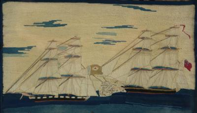 Antique Sailors Woolwork Picture of Ships in Battle