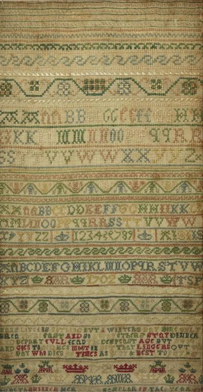Antique Sampler 1721 Alphabet sampler by Judeth Skinner