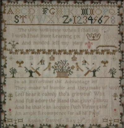 Antique Sampler 1780 by Lydia Dawes