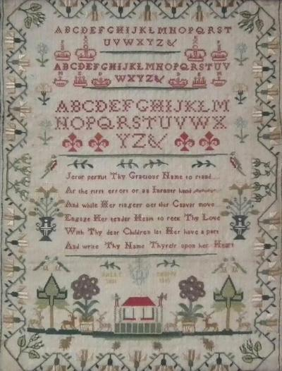 Antique Sampler 1801 by Sally Phipps