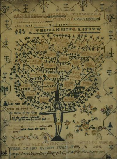 Antique Sampler 1814 Tree of Life by Mary Sandler