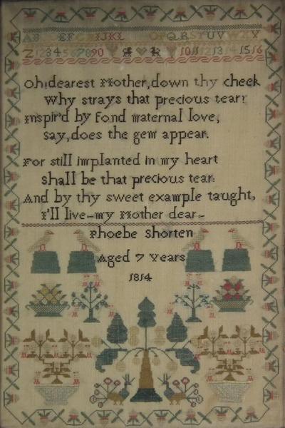 Antique Sampler 1814 by Phoebe Shorten Aged 7