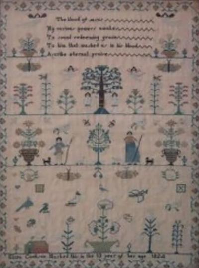 Antique Sampler 1824 Adam Eve Sampler by Eliza Cookson