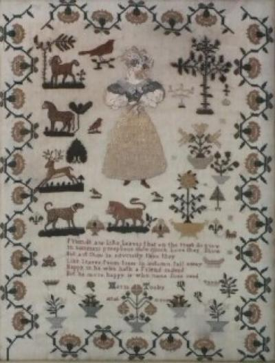 Antique Sampler by Maria Tooby c 1820