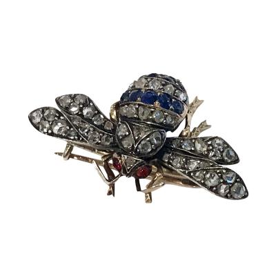 Antique Sapphire Diamond Ruby Bee Fly Brooch C 1880