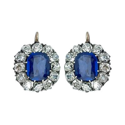 Antique Sapphire Diamond Silver Gold Dormeuses Earrings