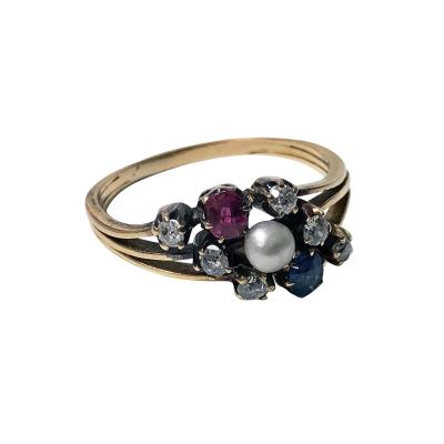Antique Sapphire Ruby Diamond Pearl 14 Karat Ring circa 1900