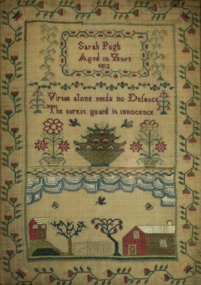 Antique Scottish Sampler 1812 by Sarah Pugh Aged 12