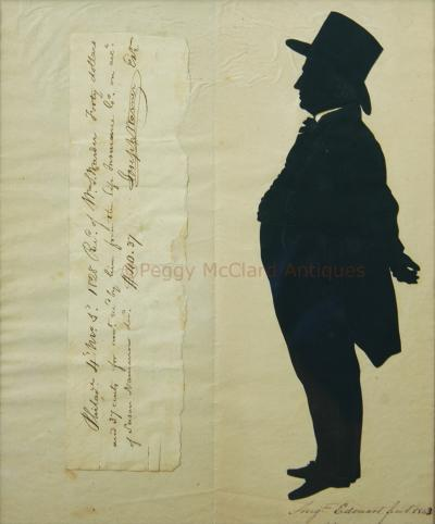Antique Silhouette by Augustin Edouart of Joseph Warner Philadelphia Quaker