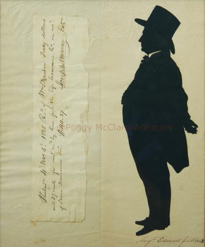 Antique Silhouette by Augustin Edouart of Joseph Warner Philadelphia Quaker