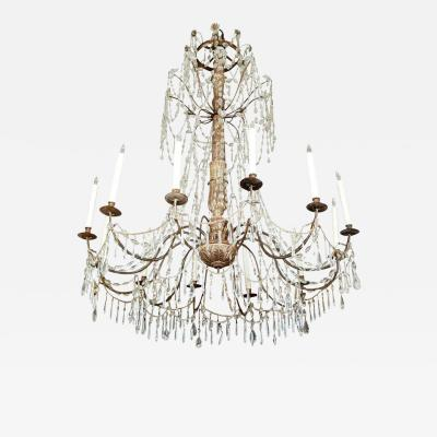 Antique Silver Gilt and Crystal Italian Chandelier